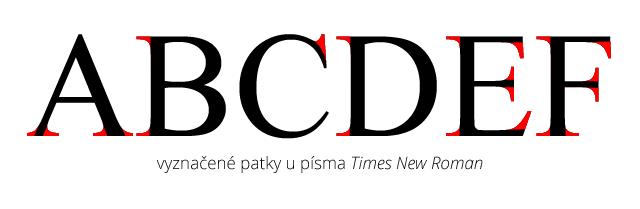 Patky u Times New Roman